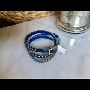 Jewelry - WRAP BRACELET with blue leather and gold studs